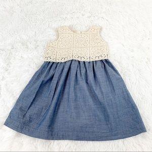 Gap toddler girl chambray lace dress sleeveless
